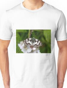 Top view of a Marbled White butterfly (Melanargia galathea) on pink flower Unisex T-Shirt