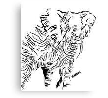 Ink African Elephant Canvas Print