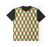 Cheerful Christmas Red and Green Argyle Pattern Graphic T-Shirt