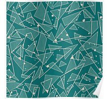 Geometric Stylish Pattern - Triangles in Teal Poster