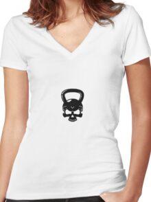 Kettlebell Skull White Women's Fitted V-Neck T-Shirt