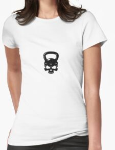 Kettlebell Skull White Womens Fitted T-Shirt