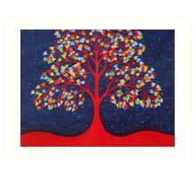 Tree of Life: Red Tree, Symbolic Tree with Rainbow Leaves Art Print