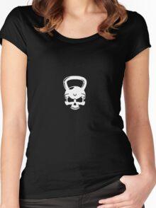 Kettlebell Skull White Women's Fitted Scoop T-Shirt