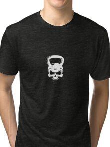 Kettlebell Skull White Tri-blend T-Shirt