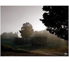 Daybreak Over Hay Wagons Photographic Print