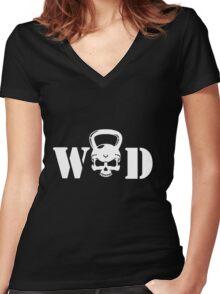 WOD Kettlebell Skull White Women's Fitted V-Neck T-Shirt