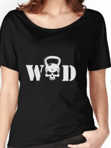 WOD Kettlebell Skull White Women's Relaxed Fit T-Shirt