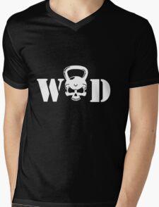 WOD Kettlebell Skull White Mens V-Neck T-Shirt