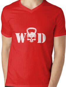 WOD Kettlebell Skull White Mens V-Neck T-Shirt