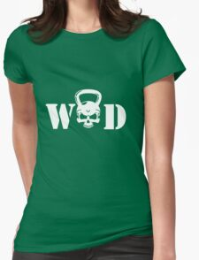 WOD Kettlebell Skull White Womens Fitted T-Shirt