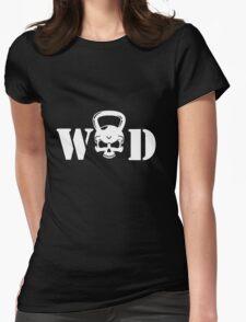 WOD Kettlebell Skull White Womens Fitted T-Shirt