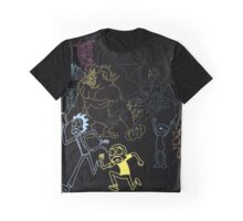 Rick and Morty Line Tshirt Graphic T-Shirt