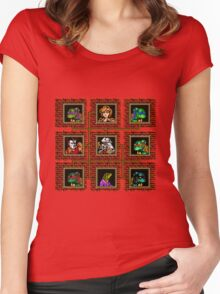 tmnt 8 bit textured Women's Fitted Scoop T-Shirt