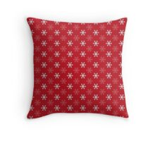 Snowflake Pattern | Red and White Throw Pillow