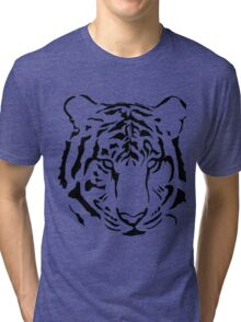 Black and White Tiger Silhouette Tri-blend T-Shirt