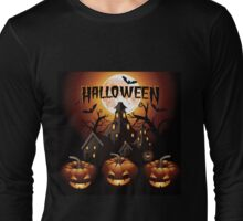 Halloween design with pumpkins, creepy trees, a full moon and haunted house Long Sleeve T-Shirt