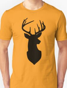 Buck Trophy Deer Silhouette in Black and White Unisex T-Shirt