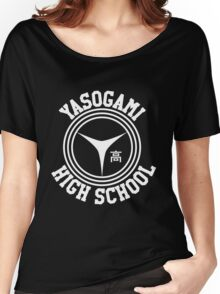 Yasogami Emblem with Text (White) Women's Relaxed Fit T-Shirt