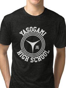 Yasogami Emblem with Text (White) Tri-blend T-Shirt