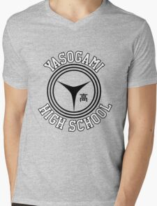 Yasogami Emblem with Text (Black) Mens V-Neck T-Shirt