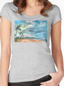 Dawn at Tangalle Beach Women's Fitted Scoop T-Shirt