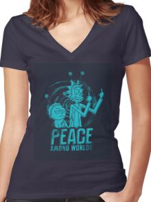 Rick and Morty - Peace Among Worlds Women's Fitted V-Neck T-Shirt
