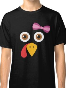 Thanksgiving Turkey Face Bow Funny Girls Gobble Gear Classic T-Shirt