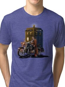 time and space traveller with Big Motorcycle Tri-blend T-Shirt
