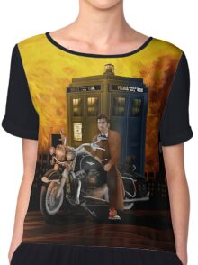 time and space traveller with Big Motorcycle Chiffon Top