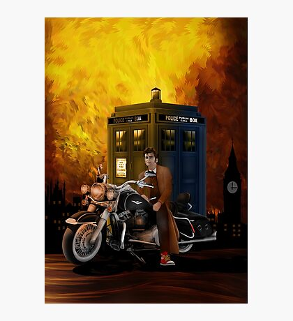 time and space traveller with Big Motorcycle Photographic Print
