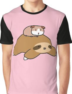 Sloth and Guinea Pig Graphic T-Shirt