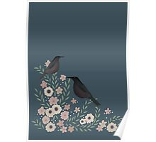 PRETTY FLOWERS AND BIRDS Poster
