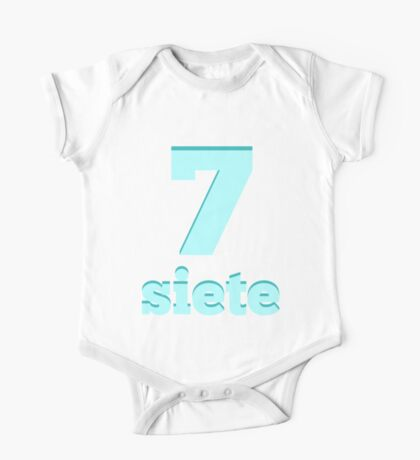 Baby learns the number seven in Spanish blue One Piece - Short Sleeve