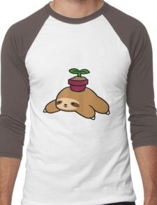 Potted Plant Sloth Men's Baseball ¾ T-Shirt