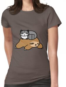 Sloth and Raccoon Womens Fitted T-Shirt