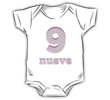 Baby learns the number nine in Spanish pink One Piece - Short Sleeve