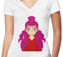 Rose Pink  Women's Fitted V-Neck T-Shirt
