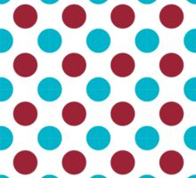 Red and Turquoise Polka Dots Fun Pattern Sticker