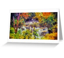 Autumn landscape with waterfall Greeting Card