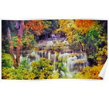 Autumn landscape with waterfall Poster