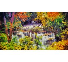 Autumn landscape with waterfall Photographic Print