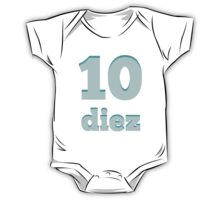 Baby learns the number ten in Spanish blue One Piece - Short Sleeve