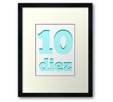 Baby learns the number ten in Spanish blue Framed Print