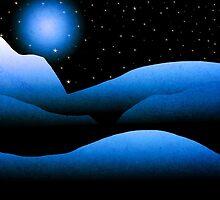 Blue Moon Mountain Landscape Art by Christina Rollo