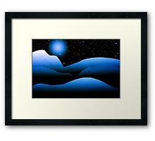 Blue Moon Mountain Landscape Art Framed Print
