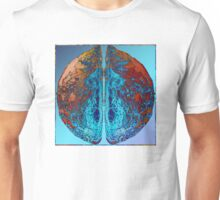 Vibrant Sphere with unique and eye catching ink pattern in blue and copper colors Unisex T-Shirt