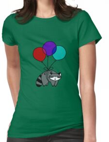 Balloon Raccoon Womens Fitted T-Shirt