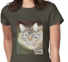 Pastel Portrait of Regal Cat Womens Fitted T-Shirt
