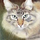Pastel Portrait of Regal Cat by Karen Sagovac